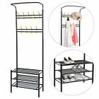 Metal Entryway 18 Hooks Coat Rack with 3 Tier Shoe Rack Bench Hat Umbrella Stand