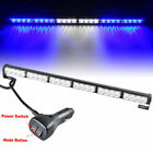 24 LED Blue White 27 Emergency Traffic Advisor Flash Strobe Light Bar Warning