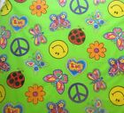 Bright Bold Butterfly Lady Bug Smiley Face Love Fabric Lime Green BTY
