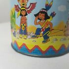 Vintage LBZ Tin Litho Crank Toy Native American Kids Animals Music Box Germany