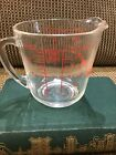 Anchor Hocking Fire-King D handle  2 cup Glass Measuring Cup Vintage Red Print