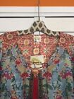 Medium Anthropologie Floral Peasant Top Baby Blue White Red Black Fig Flower