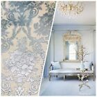 NEW Designer Brocade Satin Fabric Blue Neoclassical Floral Upholstery Damask