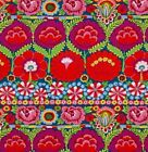 Free Spirit Kaffe Fassett Large Scale Embroidered Flower Border PWKF001 Red BTY