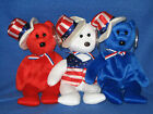 TY SAM SET - WHITE, BLUE & RED - BEANIE BABY SET - MINT with MINT TAGS