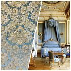 NEW Designer Brocade Satin Fabric Blue And Gold Upholstery Damask