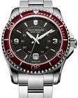 NWT Victorinox 249108 Swiss Army Maverick Black Red Silver Stainlessl Watch