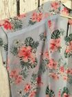 XL 1X 2X 3X New Baby Blue Pink White Hibiscus Floral Kimono Topper Lace Top