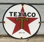 VINTAGE TEXACO PORCELAIN SIGN GAS SERVICE STATION PUMP PLATE MOTOR OIL RED STAR