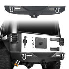Black Powder Coated Rear Bumper w 2 Hitch Receiver for Jeep Wrangler JK 07 18