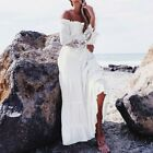 Women Off Shoulder Dress Ladies Summer Lace Beach Boho Party Maxi Sundress Long