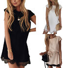 Women Summer Beach Lace Long Tops Blouse Ladies Short Sleeve T-Shirt Sun Dress