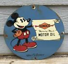 VINTAGE SUNOCO MOTOR OIL PORCELAIN SIGN, DISNEY, MICKEY MOUSE, GAS, PUMP PLATE