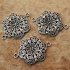 4 PCS Flower Connector Charms Antiqued Silver Tone 28x32mm Making DIY Handmade
