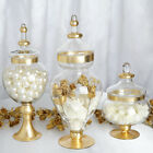 Set of 3 11 16 18 tall Gold Trim Glass Apothecary Jars with Lids Holders SALE
