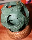 4 layer Antique Chinese Puzzle Mystery Ball Wood carved stand By Native artist