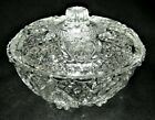 Art Nouveau Vintage Crystal Glass Jewelry Bowl Lid Candy Dish Heart Wedding Gift