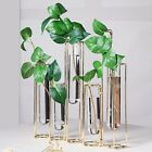19 long GOLD 5 Jointed Geometric Flower Vase Holders with Glass Test Tubes Sale