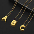 Gold Silver Stainless Steel Slide Alphabet Initial Letter Pendant Necklace 18