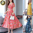 Summer Women Vintage A-Line Dress Tunic Long Short Sleeve Floral Print Sundress