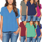 Women Casual Solid Color V Neck Short Sleeve Shirt Ladies Pullover Blouse Top US