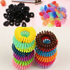 12x Girl Colorful Elastic Rubber Hairband Phone Wire Hair Tie Rope Band Ponytail