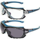 Octane Motorcycle Riding Safety Glasses Blue Gasket 1 Clear and 1 Smoke Lens