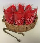 RARE RED HANKY HIGHBALL GLASSES ICE BUCKET BAR WARE SET WATER WESTERN STYLE