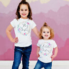 Baby Little Sister Girl Romper Big Sister T shirt Floral Printing Clothes Outfit