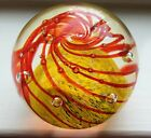 Gorgeous Vintage Art Glass Yellow Base Red Swirls Controlled Bubbles Paperweight