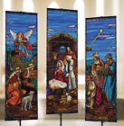 3 x 9 Nativity Stained Glass Banner Set Satin Polyester