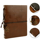 Pu Leather Vintage Photo Album Scrapbook Self-adhesive Albums Wbronze Pendant
