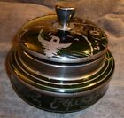 Vintage Green Glass Hand Painted Asian Motif Candy Bowl with Lid
