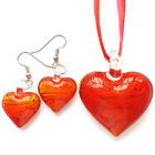 Red Heart Lampwork Glass Bead Pendant Ribbon Necklace Wax Cord Earring Set
