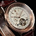 Army Sport Oversized BEZEL CASE Skeleton Automatic mechanical Leather Men Watch