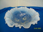 Blue Opalescent 3 Footed Bowl