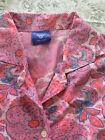 Womens Pajama Set Pink And Purple Floral Size M Pine Cone Hill Cotton