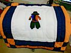 RARE Native American Patchwork Baby Indian Boy Quilt Crib Blanket HandMad Orange