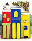 Fused Glass Wall Art CityScape Scene Bright Primary Colors