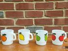 COMPLETE SET OF 4 FIRE KING ANCHOR HOCKING SUPER FRUIT MUGS