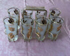Vintage1950s Set 8 Libbey Gold Leaf Drinking Glasses w Caddy-Carrier Preowned