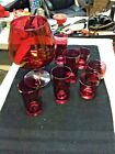 Ruby Colored Designed Punch Bowl Glass with Multi Glasses
