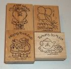 Stampin Up Retired Wood Mounted NICE  EASY NOTES Birthday Friend Thanks Heart