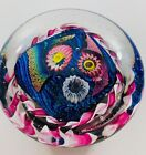 RANDY STRONG DICHROIC MILLEFIORI GLASS PAPERWEIGHT 2002 FLOWERS RIBBON