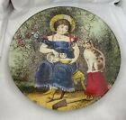 John Derian Signed Decoupage RARE COLLECTORS 5 Round Plate Girl Feeding Cats