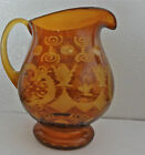 BOHEMIAN CZECH AMBER ETCHED CUT TO CLEAR 8 PITCHER WITH CASTLE AND BIRD