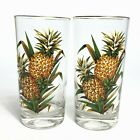 Vintage Glass Tumblers Pineapples Gold Trim Heavy Base - Set of 2