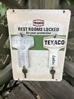 Vintage Texaco Restroom Key Holder With Keys GAS/OIL/SODA