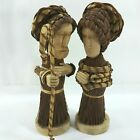Mary Joseph Straw Wood Carved Woven Nativity Holy Family Christmas Figurines