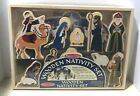 New Melissa  Doug Wooden Nativity Set Includes Stable and 11 Figures